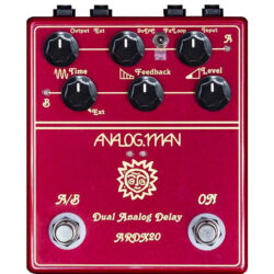 Analog Man ARDX20 Dual Analog Delay (w/ remote switching jack, left side)