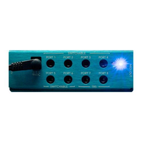Morningstar MIDI Box - port view with LED light